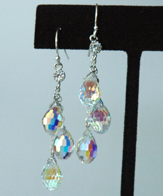 Swarovski Crystal Eggs Teardrop Dangle Sterling Silver Earrings, Weddings Bride Bridal Earrings, Bridesmaids Earrings