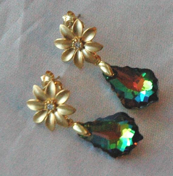 Gold Swarovski Crystal Vitrail Medium Baroque Teardrop Post  Earrings