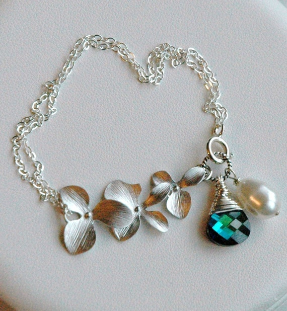 Sterling Silver Orchid - Peacock and Pearl Charm  Bracelet, Bridesmaid Bracelet, Peacock Wedding,  Peacock Bracelet, Floral Bracelet