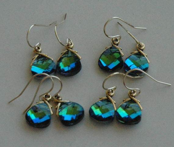 Bridesmaids Gift Set   ---4 Peacock Small  ---- Gold Filled Swarovski Crystal Aqua Green Sphinx Earrings