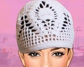Vintage Crochet white hat : Made to order