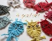 4 pieces/ set -- MACRAME  OWL --- Bookmark, Applique, Decor, Ornament, Necklace, Key Chain : Ready to ship