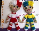 Crazy Boys in Soccer Sport: Crochet Doll Pattern ( PDF only )