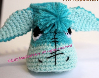 Blue Donkey Baby Booties: Crochet Pattern ( PDF only )