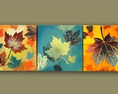 Original MODERN contemporary art SET of 3 PAINTING autumn leaves fall colors wall decor by G. Bukova
