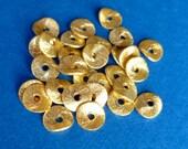 30 pcs 6mm vermeil wavy disc spacer beads, brushed finish, 20K-24K gold gilded sterling silver. (BDBR6V)