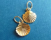 2 shell 9x8mm, 14K GF, gold fill charms, pendants, dangles, sequins with oval jump ring - 1 pair (CHMSSGF).