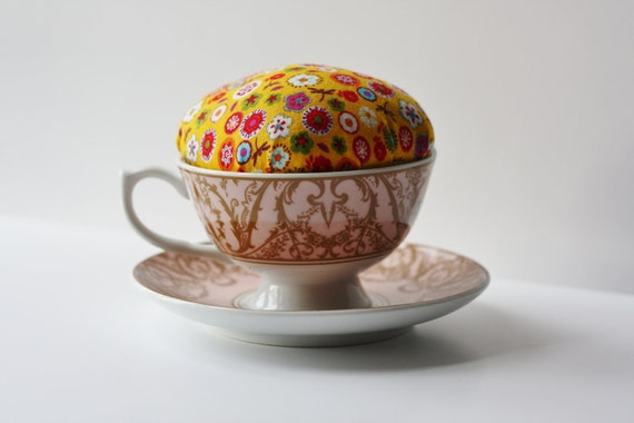 Pincushion Floral Tea Cup- Great gift
