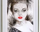 LADY - B&W Original Watercolor Female