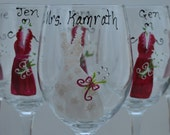 Custom Order is for 6 Hand  Painted Wedding Wine Glasses (15.00 each)
