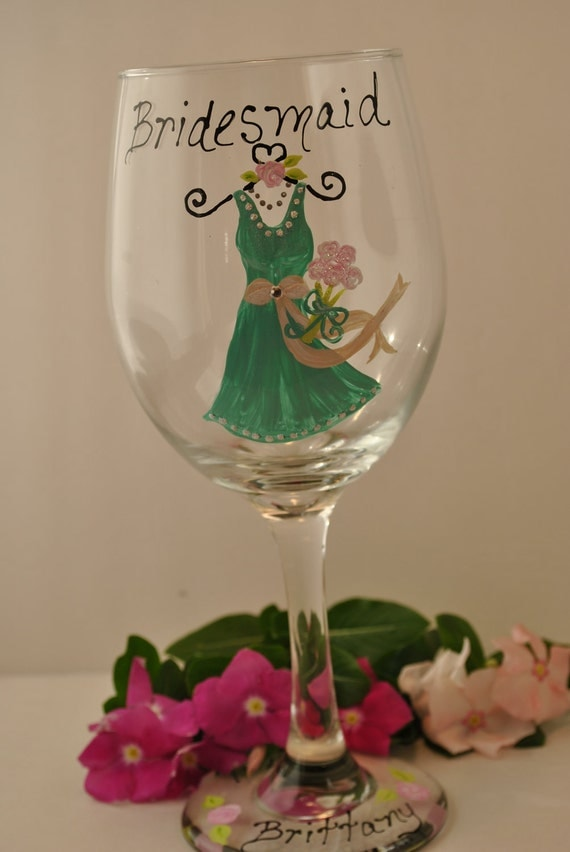 Unique Wedding Wine Glasses/ Wine Glass Hand Painted (Tiffany Box Blue ...