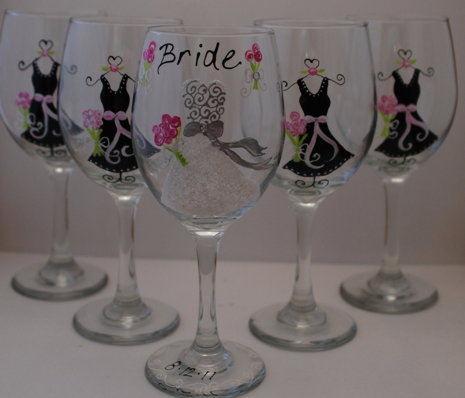 Custom hand painted 5 wedding wine glasses bridal party and for Hand painted glassware