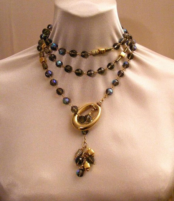 Midnight Blue Firepolished CRYSTAL LARIAT NECKLACE & Earrings