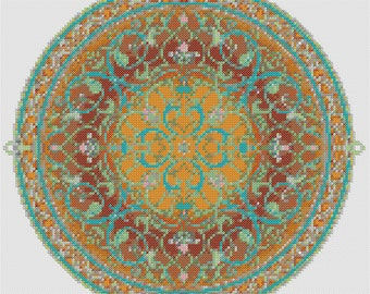 Arabian Nights Pdf Cross Stitch Chart Pattern Instant Download Mandala Whole Stitches Hand Embroidery Arabic