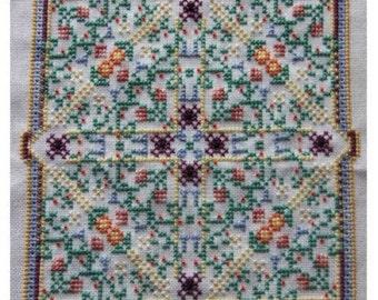 Wildflower Meadow Mandala Cross Stitch Chart PDF Pattern Wild Flowers Tile Square Cushion Kaleidoscopic Design Instant Download Stitching