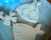 Wedding Gown Dress Bridal Cookies - Custom Decorated