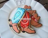 Bandana Print Boots and Cowboy Hat Cookies - Custom Decorated
