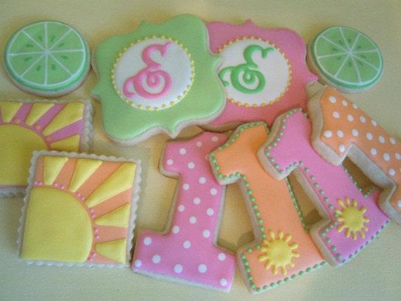 Sunshine and Lemonade First Birthday Cookies