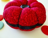 Christmas Sale - Round Pincushion - Red Flower Design and Black Ribbon - Classic Pincushion -  Vintage Buttons