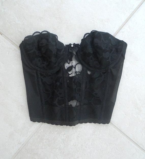Victorias Secret Deadstock Lace Black Boned Backless Corset - 32A