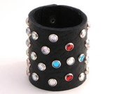 Women's leather cuff bracelet with colored rhinestones
