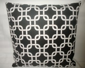 Free U.S. shipping--Designer Pillow Covers, Decorative, Throw. A pair, two 16x16 inch- Popular Black Geometric