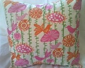 NEW --free shipping--Designer Pillow Cover, Decorative, Throw. 18x18 inch, Pink, green, orange, off white