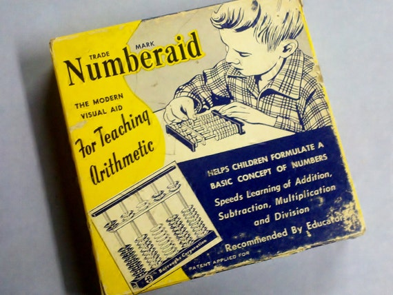 """Vintage Arithmetic Learning Aid - The Colorful """"Numberaid"""" """"THE American"""" abacus designed for Burroughs Corp from GunnySackRace"""