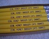 Eew, Honey Badger Eats Snakes Engraved Pencil Set - 6 Gift Boxed Pencils