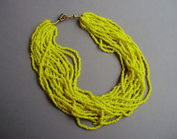 80s ethnic multi strand yellow glass seed bead necklace
