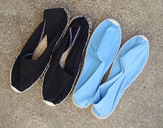 vintage linen straw flat shoes size US 9, EUR 40, UK 6.5 made in Spain
