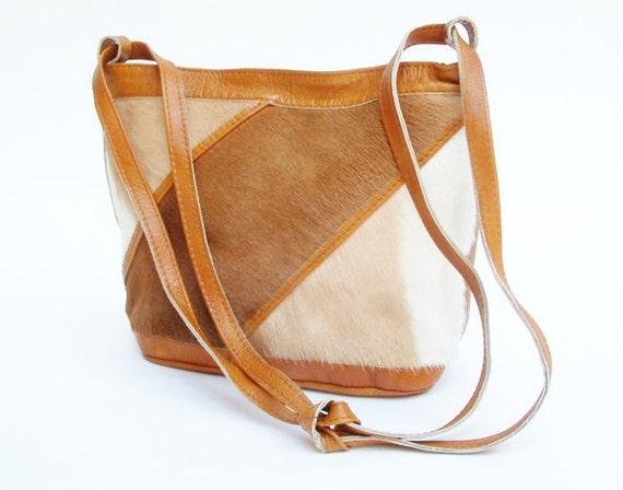 vintage fur and leather shoulder bag,purse