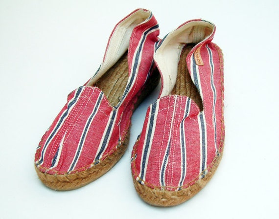 Vintage striped canvas wedges shoes size US 6.5, EUR 37 made in Spain, never worn
