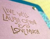Live, Laugh, Love - Stamped & Embellished Greeting Card, Blue, Purple, Rhinestone
