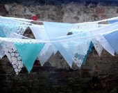 8m BUNTING blue / white lace for weddings, parties, decoration