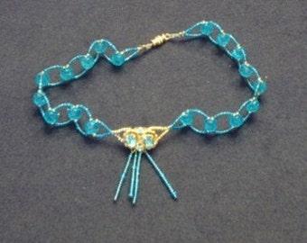 Blue Crystal Beaded Choker