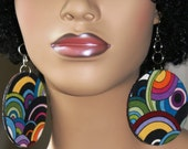 Large Fabric Covered Earrings Wood Earrings-Circles