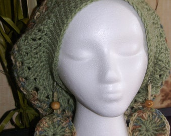 Crochet Tam with Matching Earrings  Made To Order