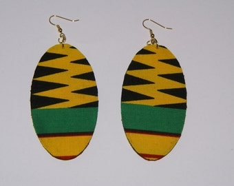 Fabric Covered Wood Earrings