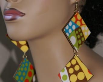 Long Dangle Fabric Covered Wood Earrings