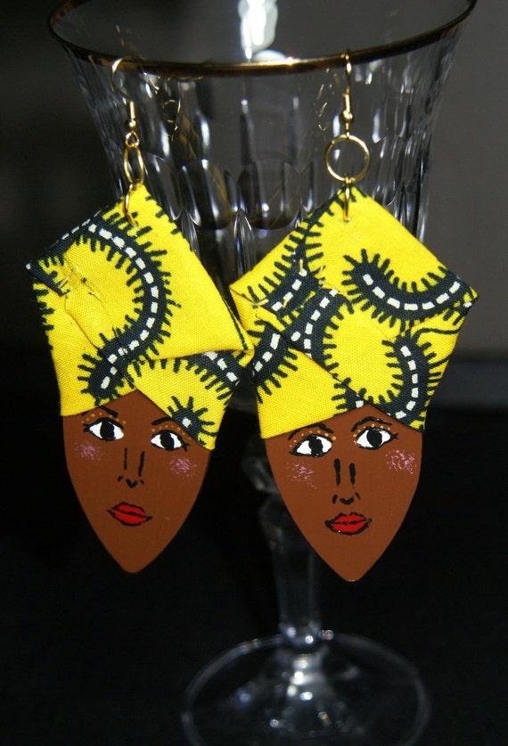 Wood Earrings- Elegant Ladies in Headwraps