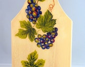 Wooden decorative board decoupaged with grapes design