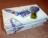 Wooden box  decoupaged with lavender design