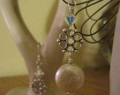 Creamy White Coin Pearl and Crystal Earrings