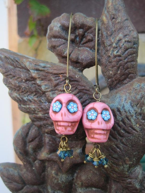 SALE - Pink Howlite Skull and Blue Swarovski Crystal Earrings