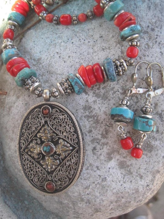 Vintage Turquoise and Coral Prayer Box Necklace and Earring Set- FREE SHIPPING