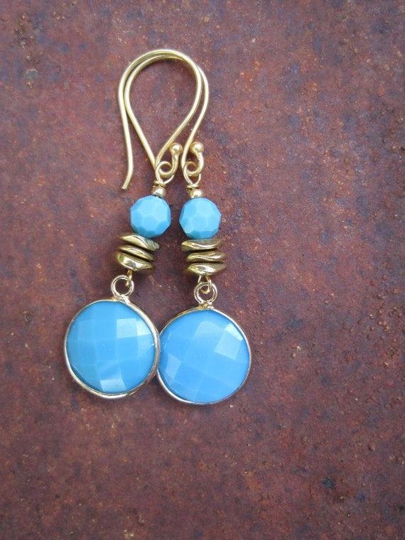Sky Blue Faceted Gemstone Dangle and Swarovski Crystal Boho Earrings