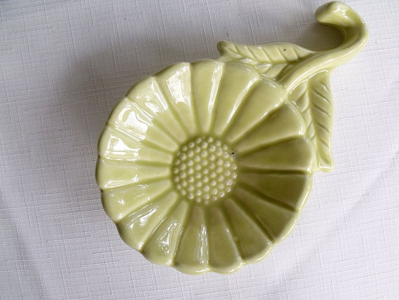Vintage Lime Green Flower Spoon Rest
