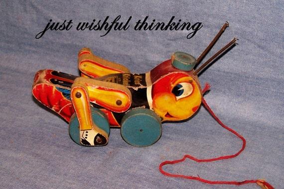 Vintage Fisher Price Pull Toy Kris Kricket No. 678, 1950's