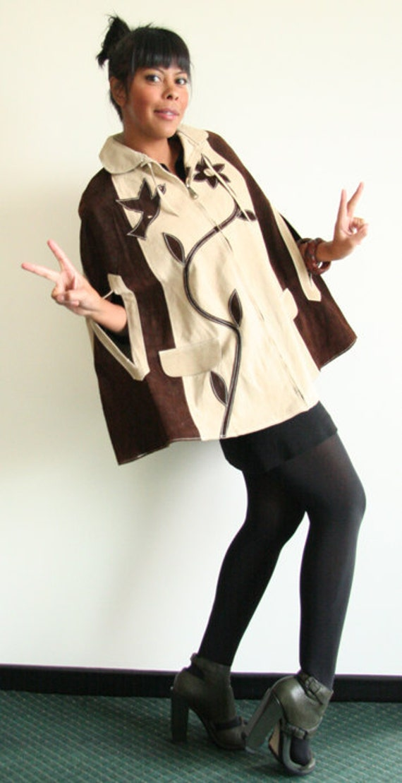 leather cape vest, jacket, poncho